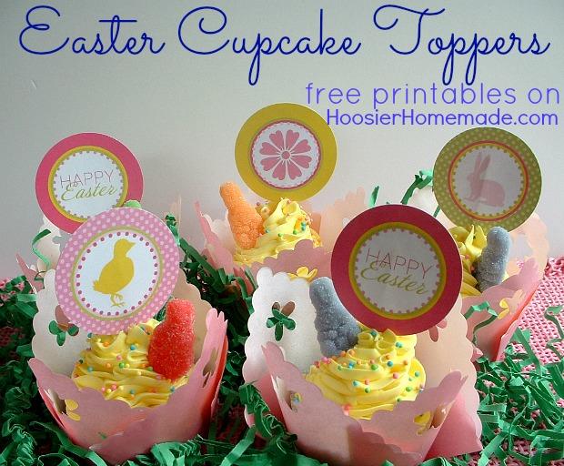 Printable Easter Cupcake Toppers :: HoosierHomemade.com