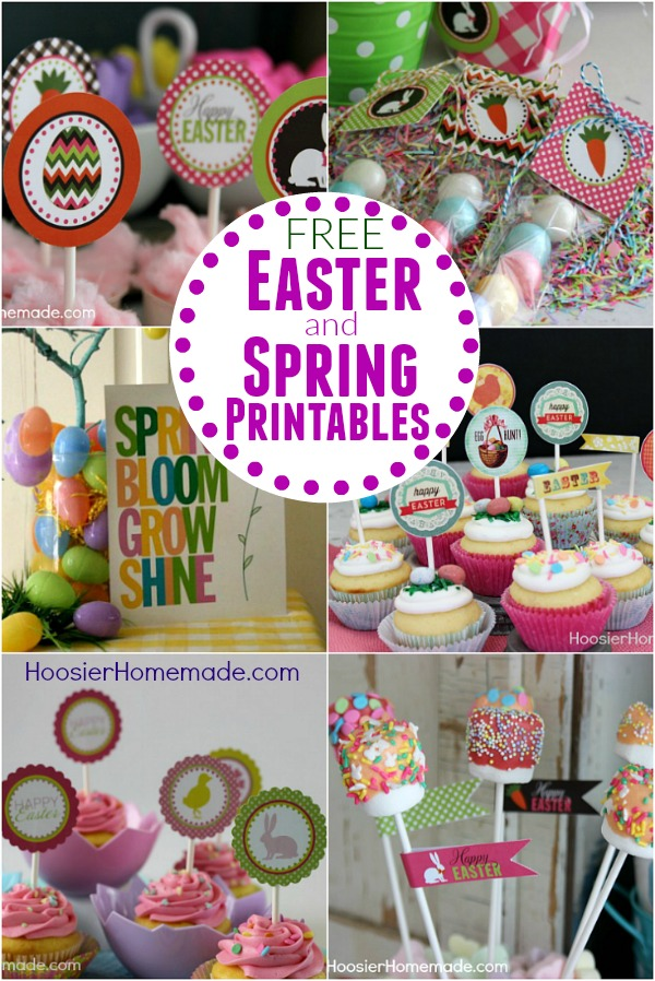 Grab your FREE Easter and Spring Printables! Cupcake Toppers, Party Printables, Decorations, Treat Bag Toppers and much more!