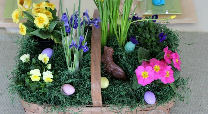 Easter Flower Basket Centerpiece