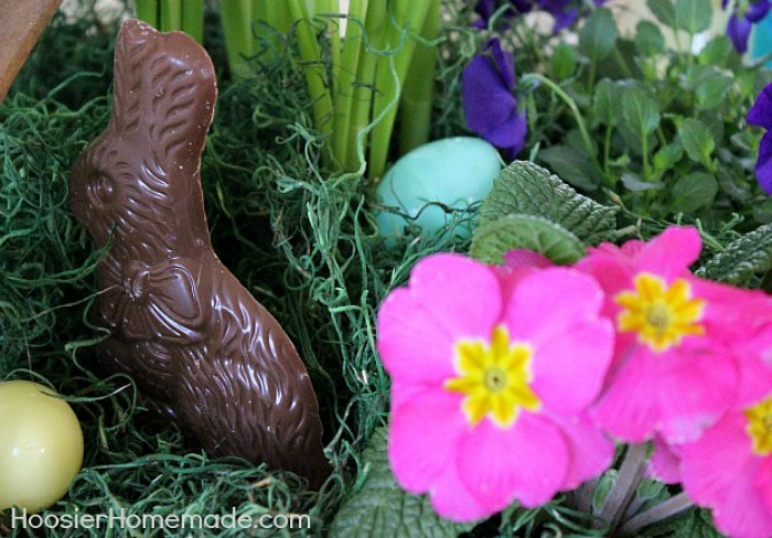 Chocolate bunny in Easter Flower Basket Centerpiece