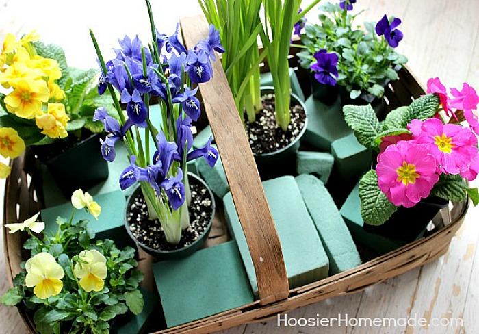 Floral foam in Easter Flower Basket Centerpiece
