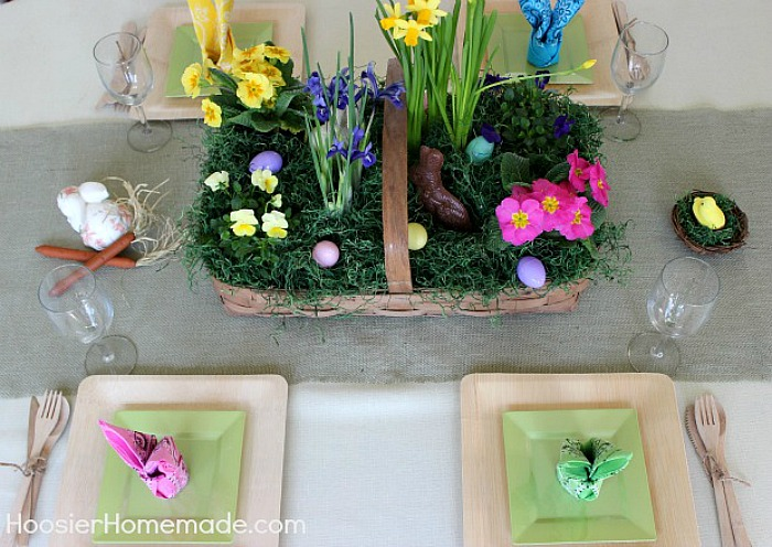Easter flower basket centerpiece hoosier homemade easter flower basket centerpiece negle Image collections