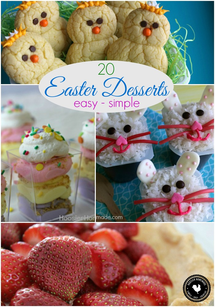 Create one of these Easy Easter Desserts and wow your friends and family! No Bake Cheesecake, 3 ingredient Cookies, Poke Cake and more! Pin to your Recipe Board!