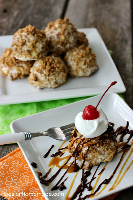 Easy Fried Ice Cream without Frying | Recipe on HoosierHomemade.com