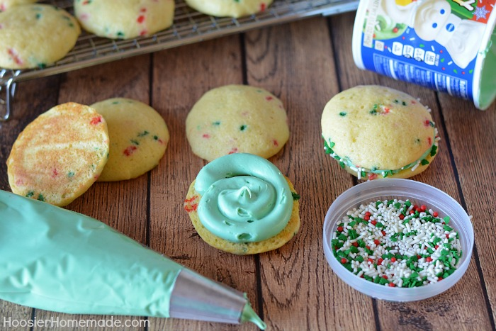 Easy Whoopie Pies put together with frosting