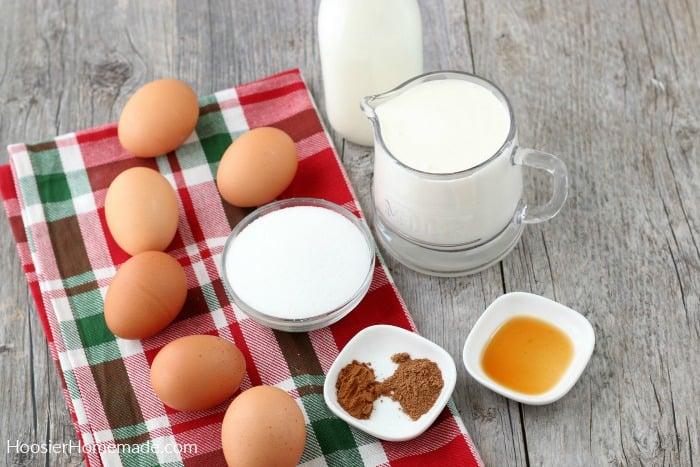 Ingredients for Eggnog Recipe