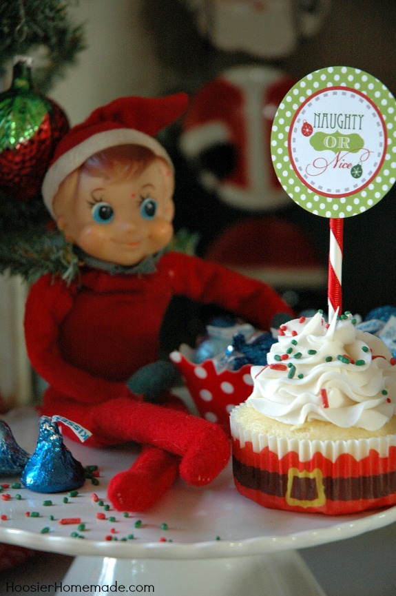 Printable Elf on the Shelf Cupcake Toppers