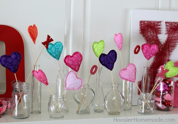 Fabric Hearts on a Stick