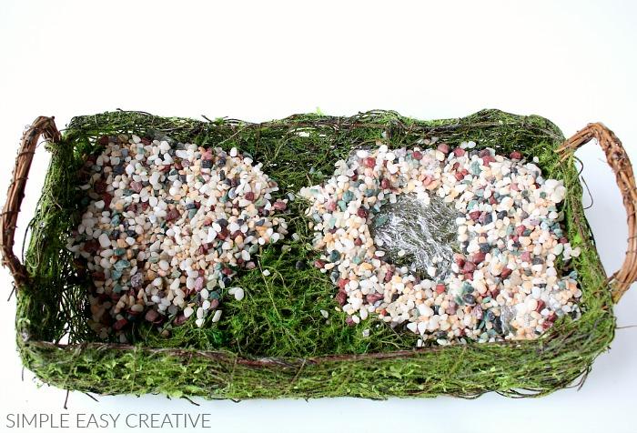 Add stones to Fairy Garden