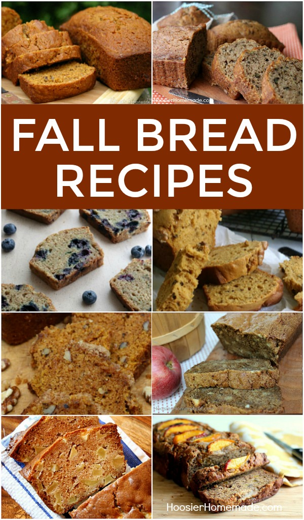 "FALL BREAD RECIPES -- Nothing says ""FALL"" quite like a loaf of Pumpkin Bread! Or maybe it's Apple Cider Bread - or Zucchini Bread! No matter which one is your favorite, you will love these Fall Bread Recipes!"