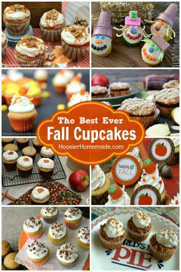 Caramel - Pumpkin - Apples - Scarecrows - oh MY! These are 20 of the BEST ever Fall Cupcakes you will find! + How to make Candy Acorns and FREE Fall Cupcake Toppers! Fire up your oven and grab a recipe -- or 2