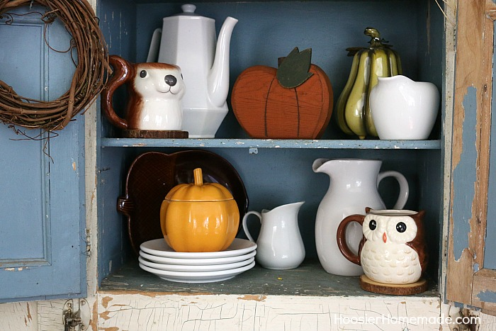 FALL DECORATING: HOOSIER CABINET -- Touches of Autumn in this EASY Fall Decor!