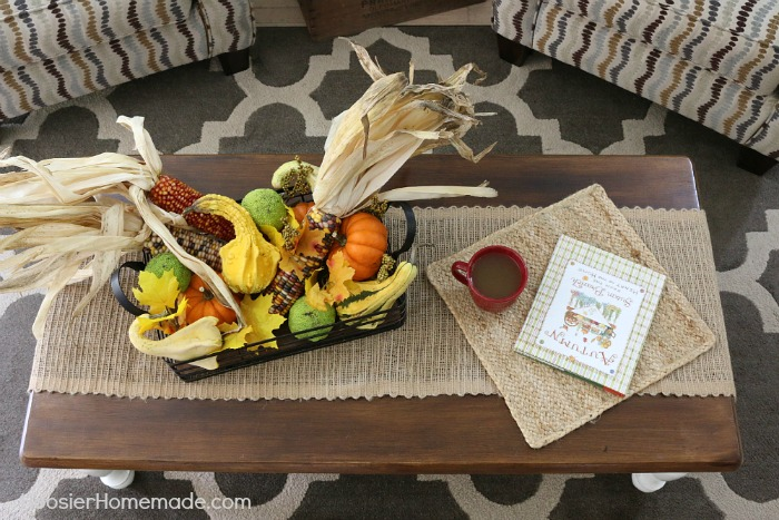 Fall Decorating on a coffee table