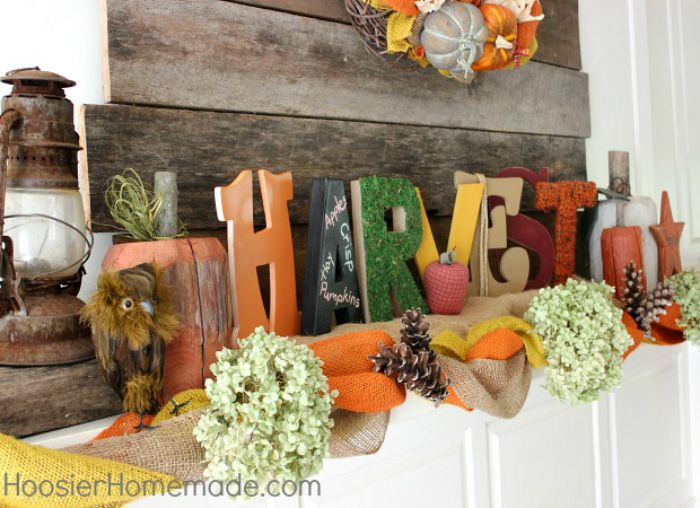Rustic Fall Mantel Decoration