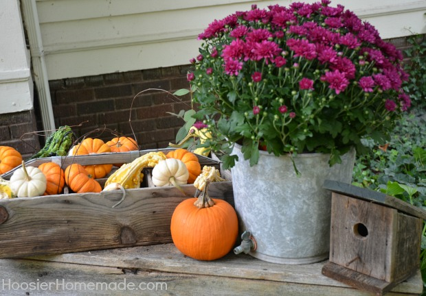 Fall Outdoor Decorating | How to Decorate Window Boxes | on HoosierHomemade.com