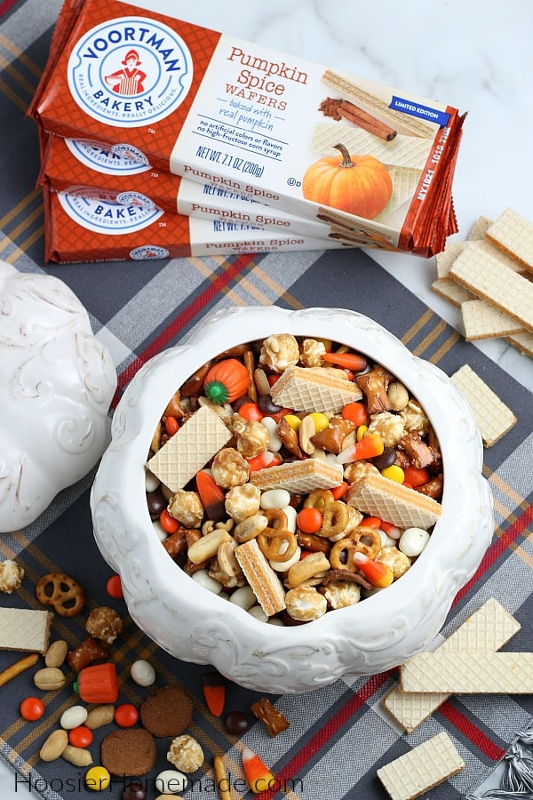 Fall snack mix in white ceramic pumpkin