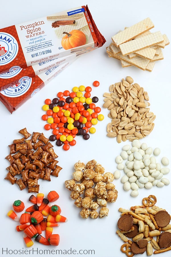 Ingredients to make fall snack mix