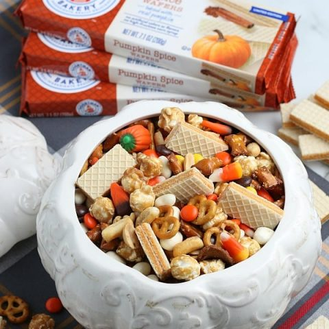 Snack Mix with Cookies in white ceramic pumpkin
