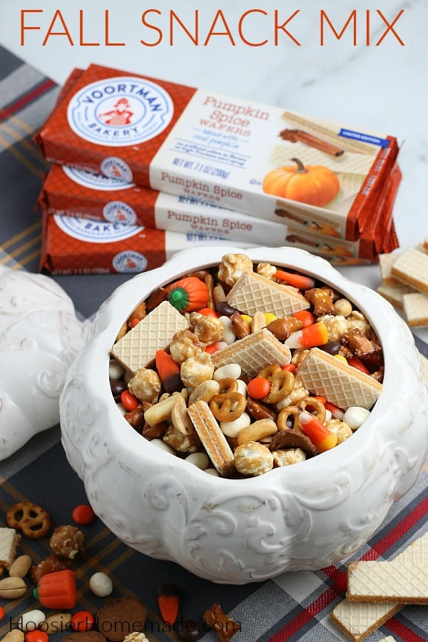 snack mix for fall in white ceramic pumpkin
