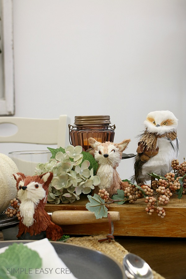 Woodland Creatures for Fall Table Decorations