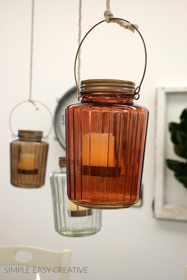 Lantern hanging from ceiling for Fall Decor