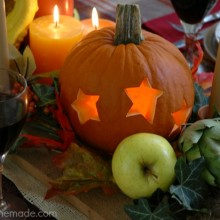 Learn how to create a Fall Tablescape using Carved Pumpkins, Fruit and Vegetables! Tutorial on HoosierHomemade.com