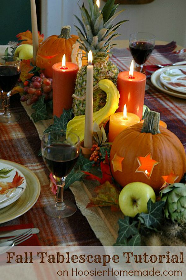 Fall Tablescape Tutorial - Creating a beautiful table centerpiece for your Fall or Thanksgiving dinner is easier than you think! Learn how to decorate your table with these step-by-step photos.