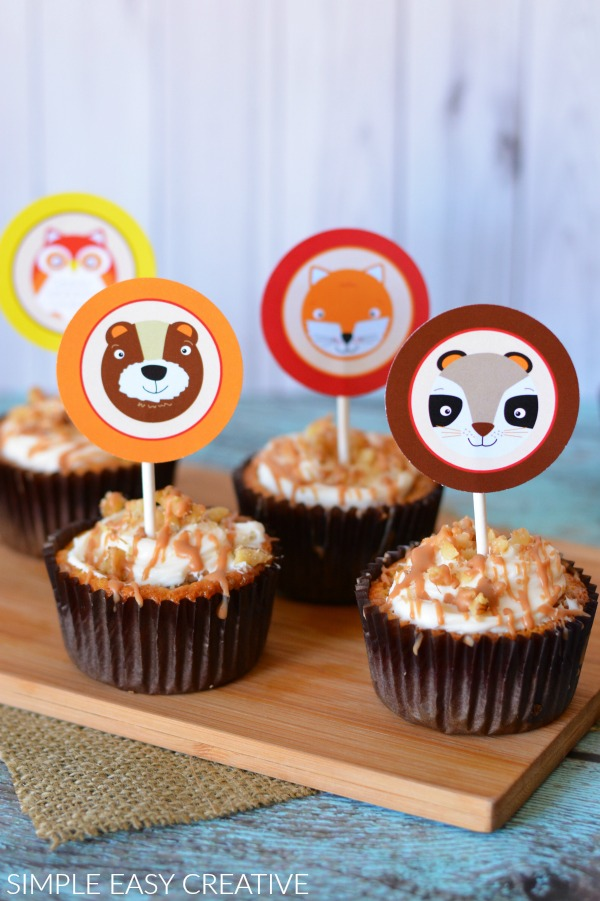 Fall Cupcake Toppers with Woodland Creatures