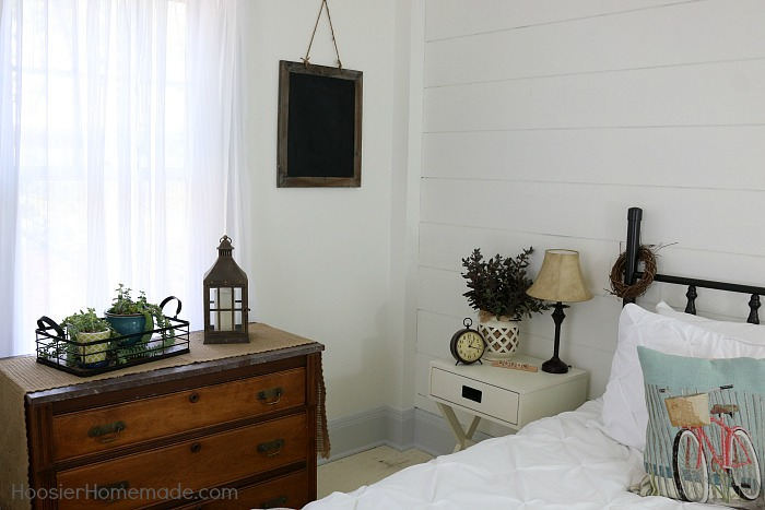 Farmhouse Decor with Shiplap Wall with plants that clean the air in your bedroom