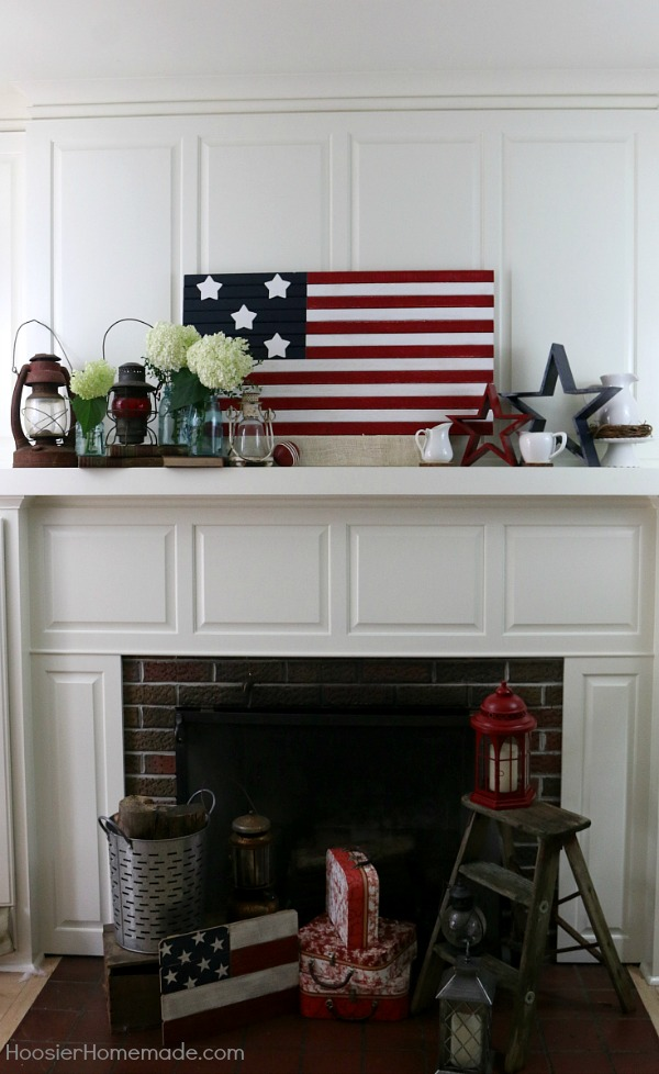 Farmhouse Mantel Decor -- give your home a fresh look for Summer! Use this decorating inspiration on your mantel, shelf and even as a tablescape! Get the Farmhouse look for less!
