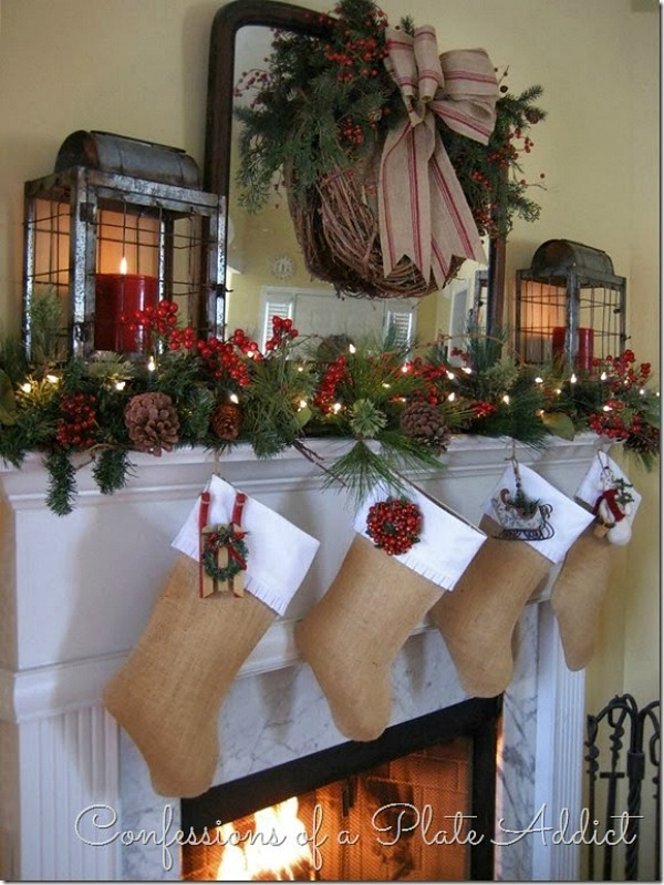 decorate your home with this gorgeous farmhouse christmas mantel complete with lanterns for a rustic christmas - Decorating Your Mantel For Christmas