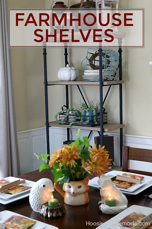 FARMHOUSE SHELF DECOR -- Transform your space with this gorgeous Farmhouse Shelf! Fill it with your favorite Farmhouse Decor!