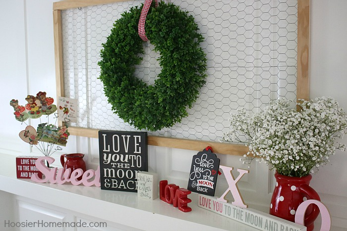 Decorating hoosier homemade farmhouse valentines day mantel by liz decorating diy solutioingenieria Image collections