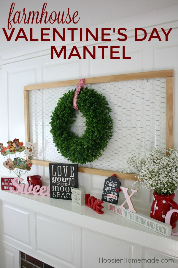 FARMHOUSE VALENTINE'S DAY MANTEL - Details on HoosierHomemade.com