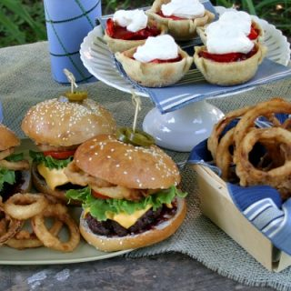 Cowboy Burgers with Homemade Onion Rings