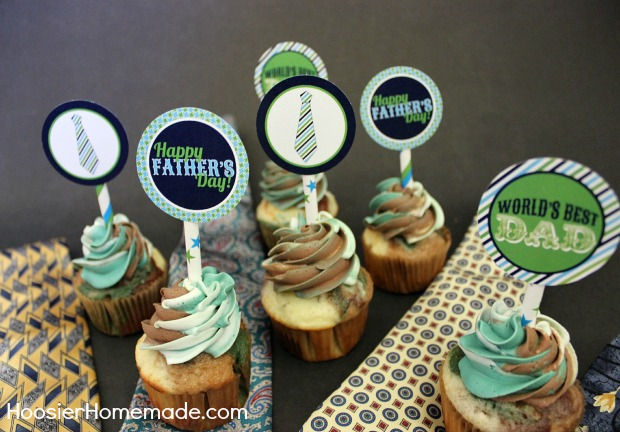 Free Printable Father's Day Cupcake Toppers :: Available on HoosierHomemade.com