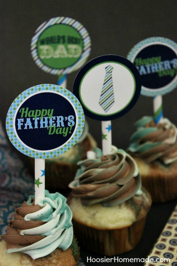 Father S Day Cupcakes And Printable Toppers Hoosier Homemade