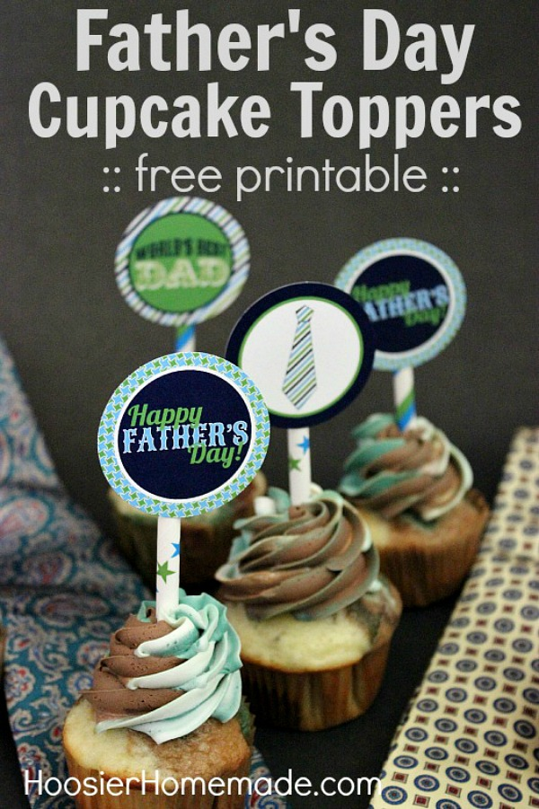 Surprise Dad with these Father's Day Cupcakes! Camouflage Cupcakes with FREE Printable Father's Day Cupcake Toppers! Be sure to save them by pinning to your Recipe Board!