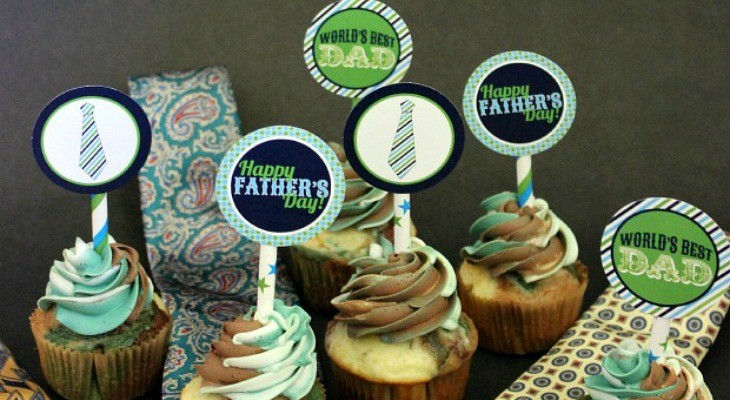 Father's Day Cupcakes and Printable Toppers