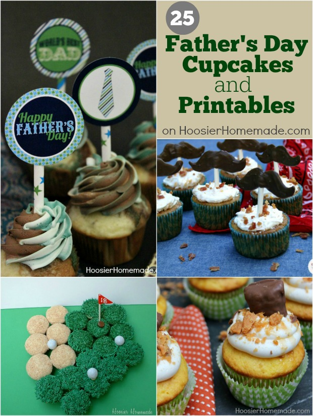 Father's Day Cupcakes and Printables | on HoosierHomemade.com