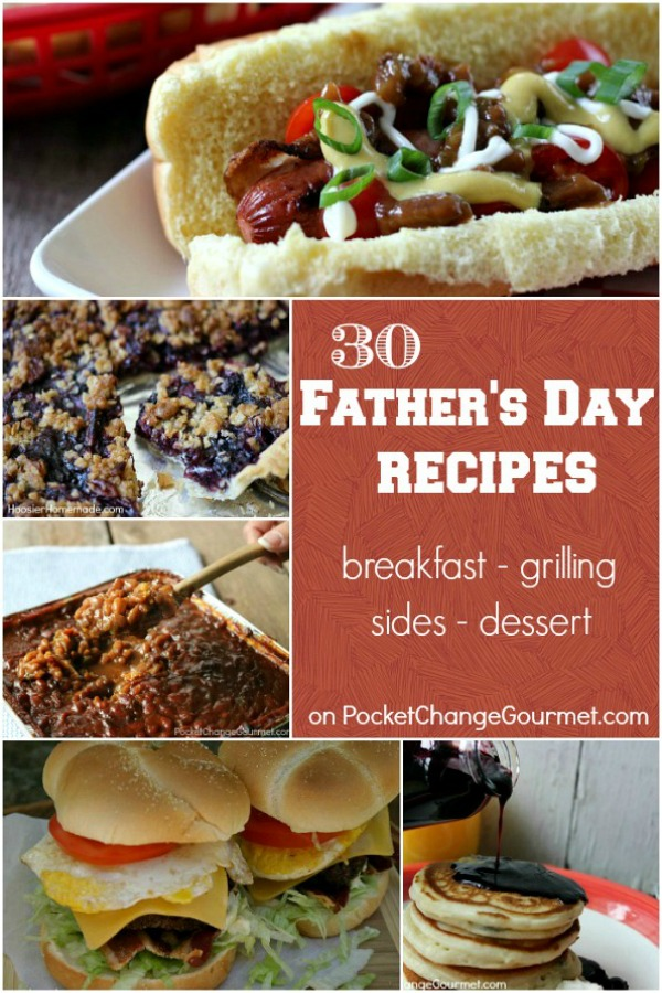 Treat Dad on his special day with one of these Father's Day Recipes! Breakfast, Grilling Recipes, Main Dishes, Side Dishes, Dessert and even Father's Day Gift Ideas! Click on the photo to grab the recipes!