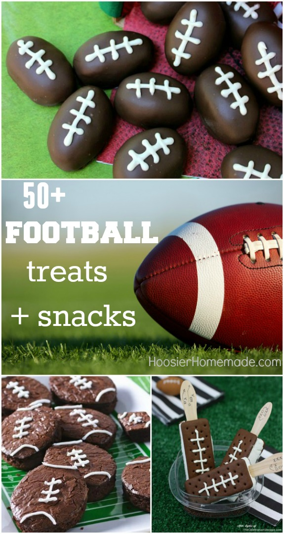 "50+ Football Treats and Snacks! Perfect for the ""Big Game"", Tailgating, or even a Football Birthday Party! Pin to your Recipe Board!"