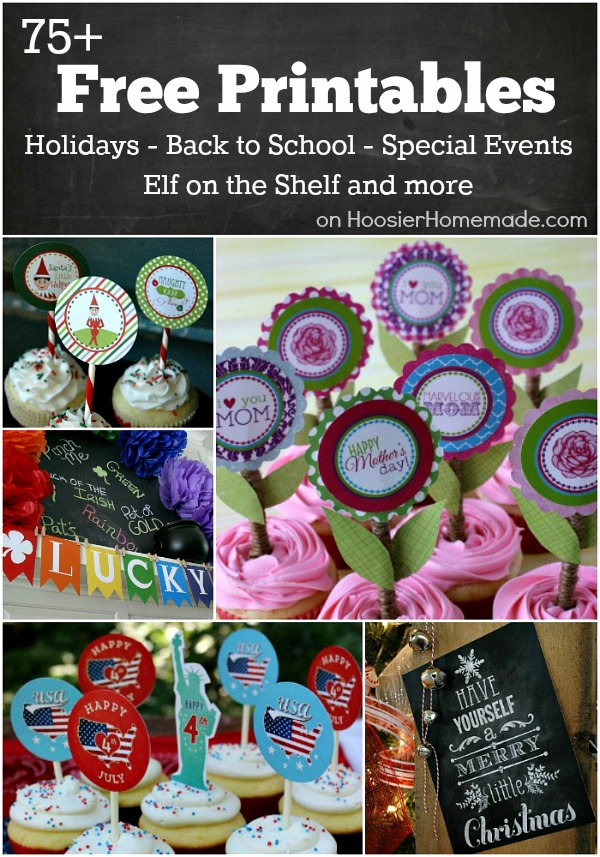 FREE Printables for Holidays, Back to School, Elf on the Shelf and much more! Including Cupcake Toppers, Gift Tags, Banners and more! Perfect for all your parties! Pin to your Party Board!