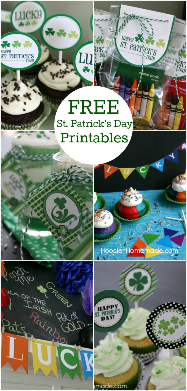 St. Patrick's Day Printables - these FREE Printables include Banners, Cupcake Toppers, Drinks Flags, Treat Bag Toppers and more! Pin to your St. Patrick's Day Board!