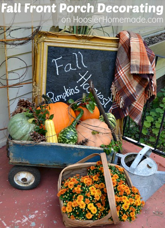Fall Front Porch Decorating :: HoosierHomemade.com