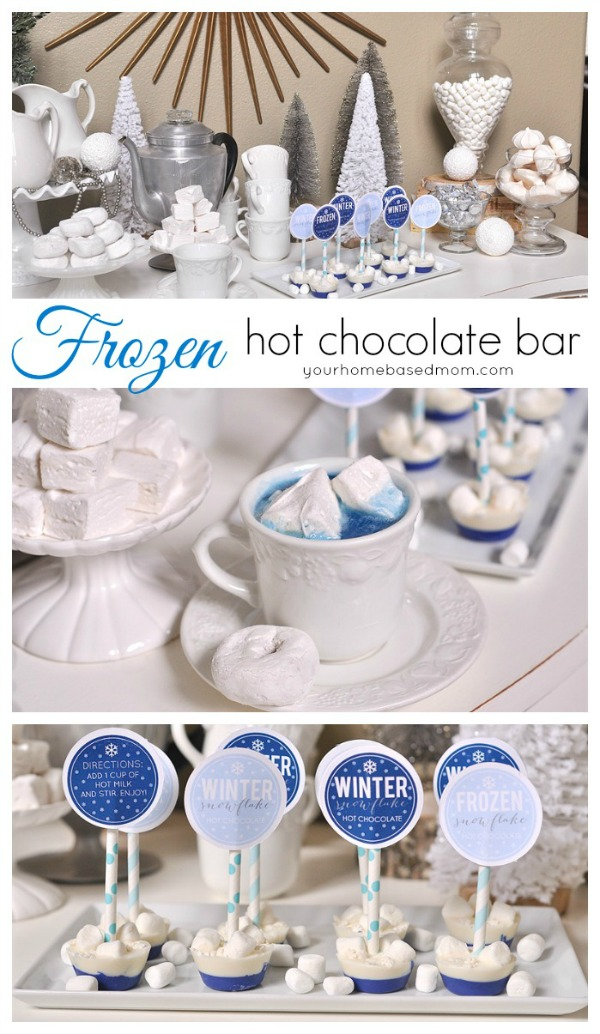 This Frozen Themed Hot Chocolate Bar is fun for the kids AND adults! Visit our 100 Days of Homemade Holiday Inspiration for more recipes, decorating ideas, crafts, homemade gift ideas and much more!