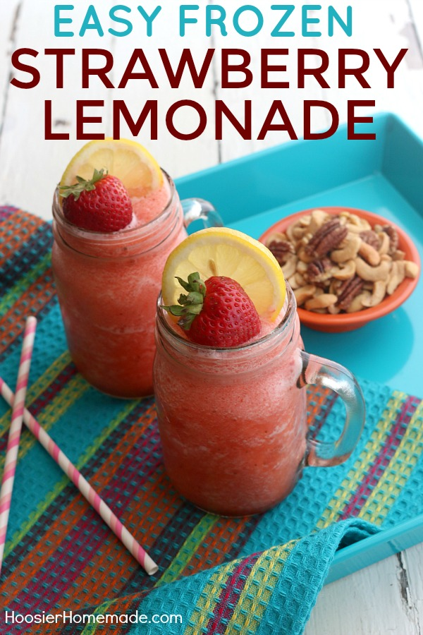 FROZEN STRAWBERRY LEMONADE -- Cool - Refreshing - and SUPER easy to make! AND it has LOW sugar! Perfect for sipping on the deck, porch or at the beach!