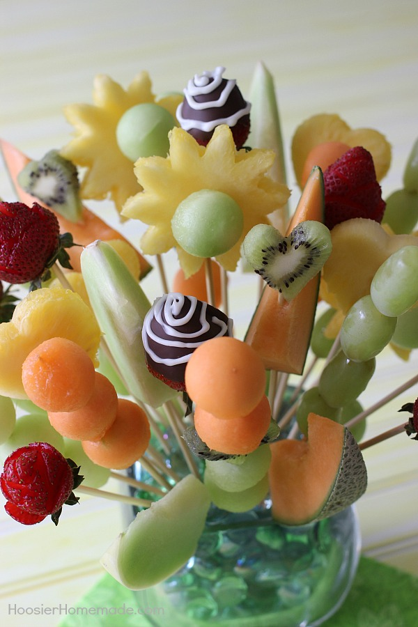 No need to buy a fruit bouquet! You can make your own! They are easy, much less expensive and perfect for gift giving! Instructions and Video included!