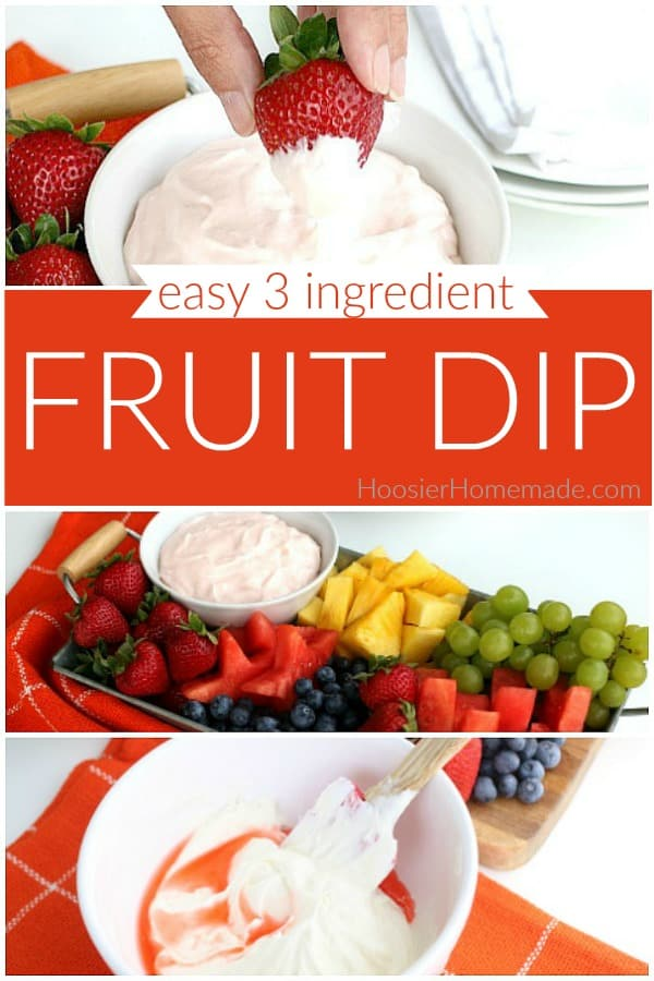 Fruit Dip with only 3 ingredients served with fruit on a tray