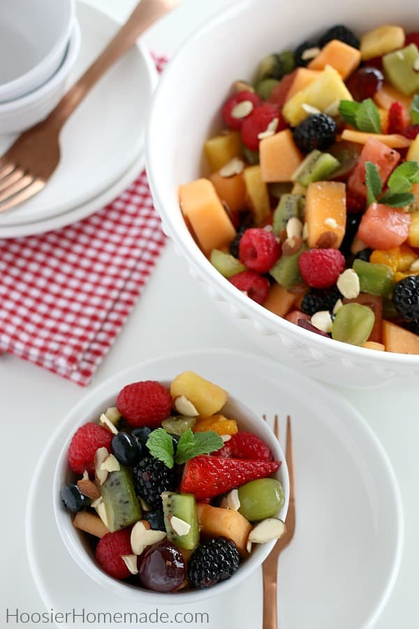 Fruit Salad Recipe in white bowls
